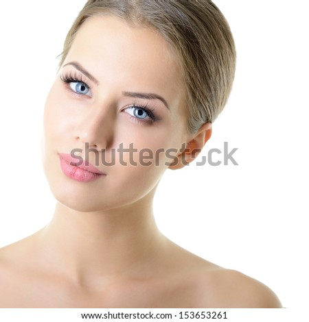 Beauty portrait of young woman with beautiful healthy face with nice day makeup looking at camera, studio shot of attractive girl over on white background - stock photo