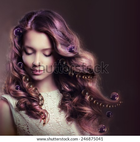 Beauty Portrait of Young Woman with Flowing Hairs - stock photo