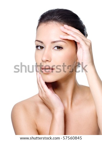 Beauty portrait of young woman with healthy skin on a face - close-up - stock photo