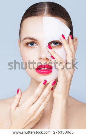 Beauty portrait with a mask sheet