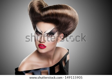 Beauty portrait with creative hairstyle