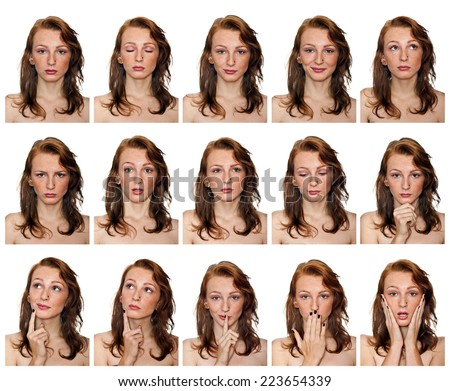 beauty portraits of freckled woman with different expressions collection - stock photo