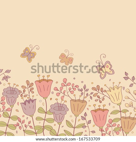 Beauty postcard in light tones. Summer illustration with flowers. Ideal for celebration card or poster - stock photo