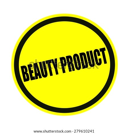 Beauty product black stamp text on yellow