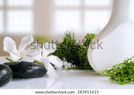 beauty product with seaweed in white container on a white glass table in a bath - stock photo