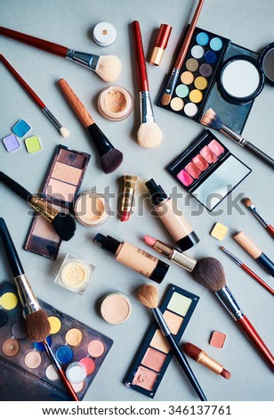 Beauty products for professional make-up - stock photo