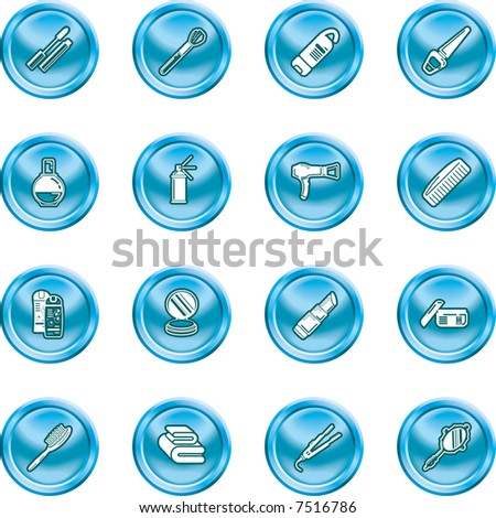 Beauty products icon set A series of design elements or icons relating to beauty, cosmetics makeup, hair care etc. Raster version. - stock photo