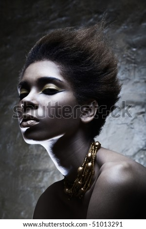 Beauty professional fashion model,studio shot with cool make up.Beautiful African American woman. - stock photo