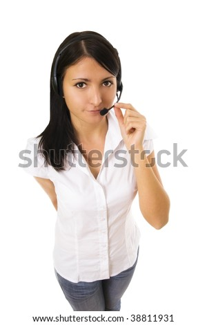 beauty receptionist in business on white background. Woman customer - stock photo