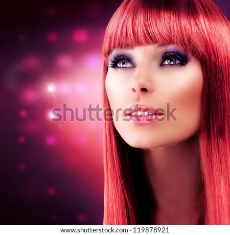 Beauty Red Haired Model Portrait. Beautiful Girl with Long Healthy Hair. Stylish Glamour Woman. Makeup Face.Haircut.Hairstyle.Professional Make-up - stock photo