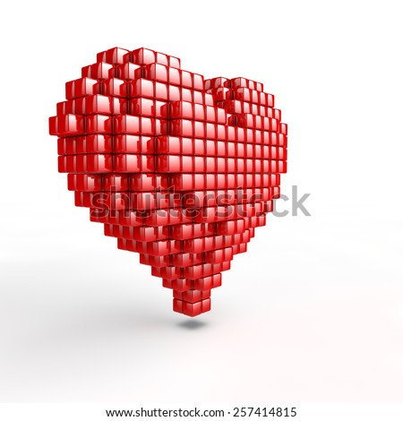 beauty red heart style with pixel voxel effect - stock photo