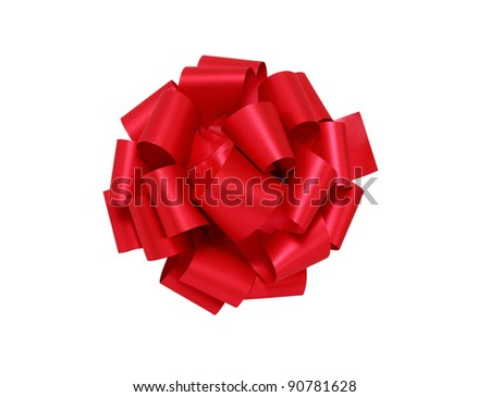 Beauty red ribbon as bow isolated on white background with clipping path - stock photo