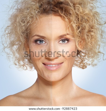 Beauty retouch, before and after / Close up portrait of a beautiful blond woman with blue eyes. Right side of the image is retouched to make her more beautiful and the left side is not processed - stock photo