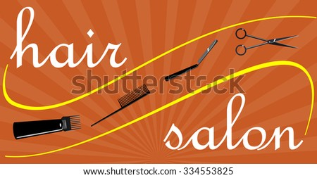 Beauty salon. Banner for the hairdresser or beauty salon in the flat style.