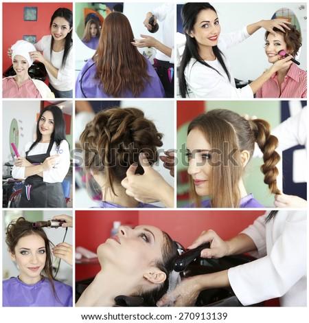 Beauty salon collage - stock photo