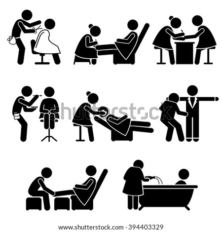 Beauty Salon Makeup Artist Spa Services Job Stick Figure Pictogram Icons