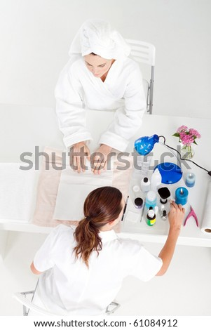 beauty salon manicure in process - stock photo