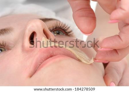 beauty salon, mustache depilation, facial skin treatment and care - stock photo