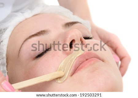 beauty salon, mustache depilation, facial skin treatment and care - stock photo