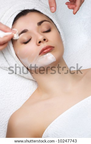 beauty salon series. cleaning off the facial mask