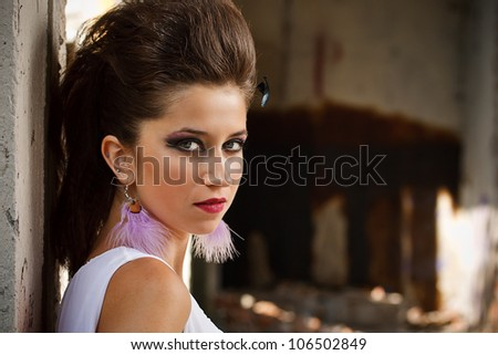 Beauty sexy woman with dark make-up - stock photo