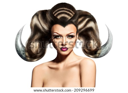 Beauty sexy woman with horns on hair and ring in nose isolated on white background - stock photo