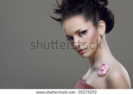 Beauty   sexy woman with pink  Japanese sakura  make-up.Fashion Model.