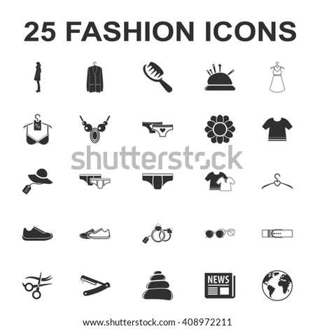 beauty, shopping, fashion 25 black simple icon set for web design