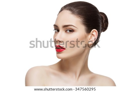 Beauty shot. Beautiful young woman with bright red lips. Isolated over white background. Copy space. - stock photo