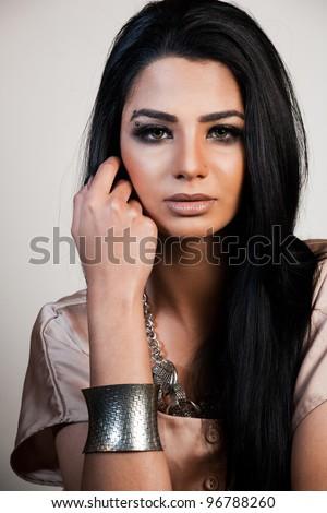 beauty shot of attractive mixed race female fashion model - stock photo