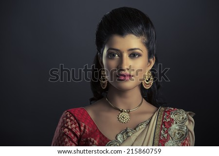 Beauty shot of Beautiful Indian women with jewelry  - stock photo