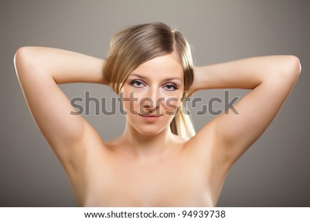 Beauty shot of caucasian blond shallow dof - stock photo