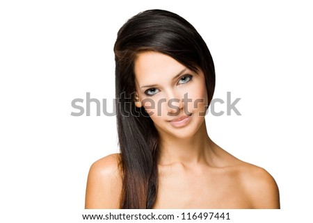 Beauty shot of young brunette woman isolated on white background.