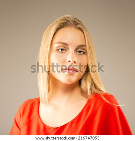beauty shot of young pretty model with blond hair - stock photo