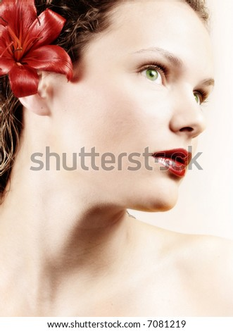 beauty shot of young woman - stock photo