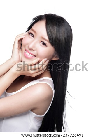Beauty Skin care concept, Beautiful woman smile face and long hair isolated on white background, asian model - stock photo
