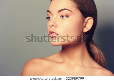Beauty, skincare. Beautiful woman with cute face - stock photo