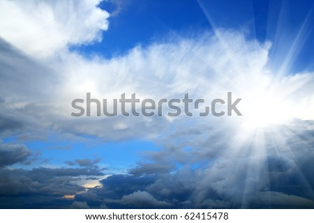 beauty sky with sun and clouds background - stock photo