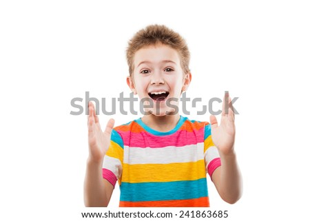 Beauty smiling amazed or surprised child boy gesturing hand showing large size white isolated