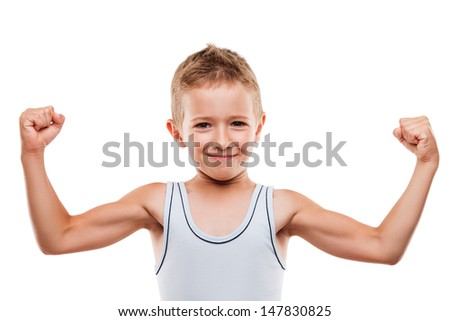 Beauty smiling sport child boy showing his hand biceps muscles strength white isolated