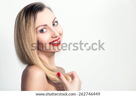Beauty Smiling Young Woman with Ceramic Braces Teeth. - stock photo