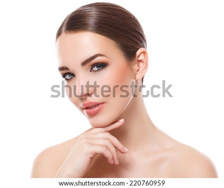 Beauty, spa. Attractive woman with beautiful face - stock photo