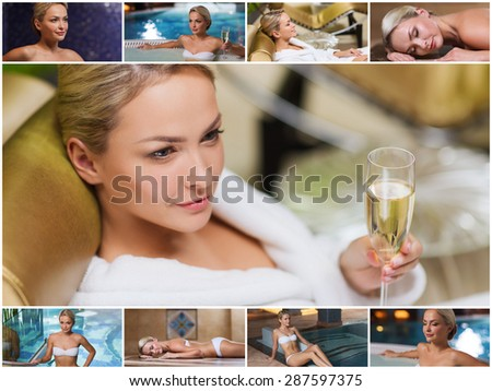 beauty, spa, healthy lifestyle concept - beautiful young woman relaxing at luxury spa with hammam sauna and swimming pool