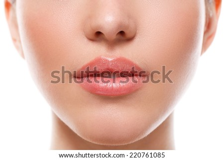 Beauty, spa. Lips in details - stock photo