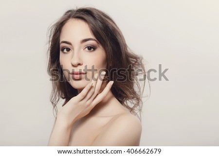 Beauty, spa. Woman with beautiful face - stock photo