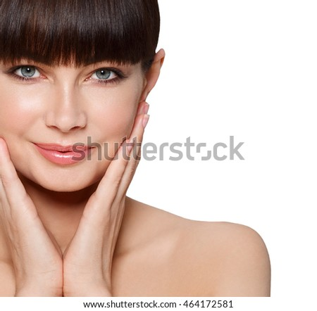 Beauty Spa Woman with perfect skin Portrait. Beautiful Brunette closeup face isolated on white