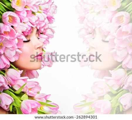 Beauty Spring Girl with Flowers Hair Style.  Spring Flower. Pink tulips.Springtime. Perfect skin - stock photo