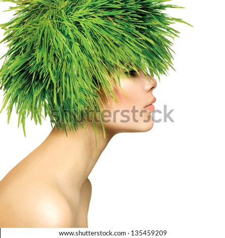 Beauty Spring Woman with Fresh Green Grass Hair. Summer Nature Girl portrait. Fashion Model - stock photo