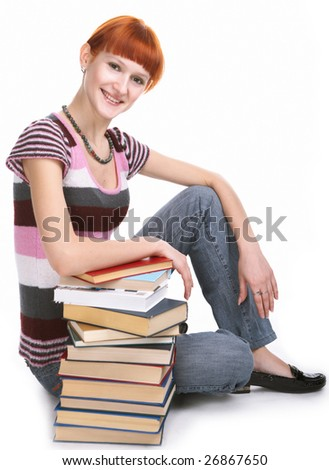 beauty student girl with book on white background