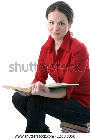 beauty student with book on white background